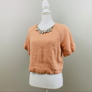 Everly | Peach Jewled Neckline Cropped Top